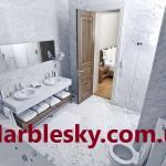 Мраморные стены и пол в санузел